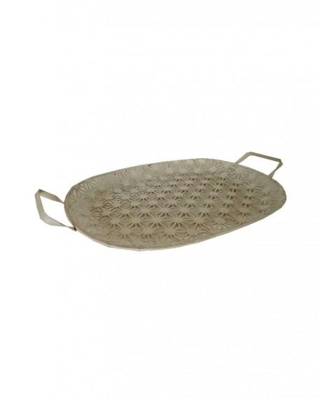Vassoio ovale in ferro traforato con manici 44x35x3 - Cesteria M.B. Service